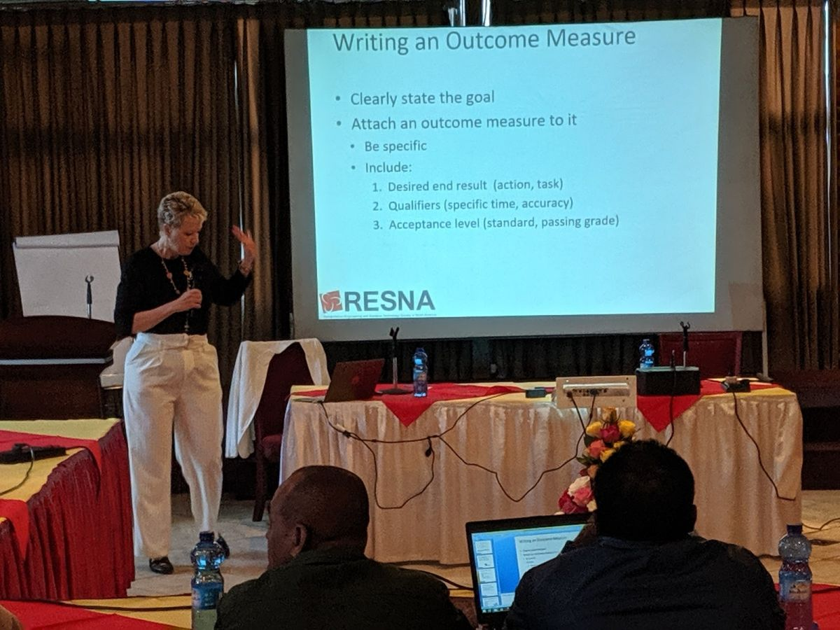 Alisa Brownlee explains how to write an outcome measure during the Fundamentals Course in Ethiopia.