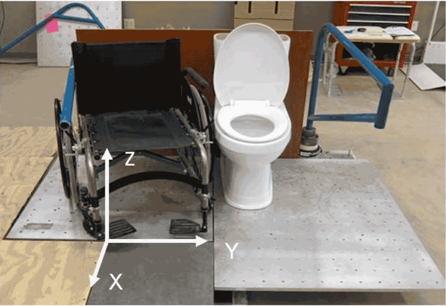 A Manual Wheelchair Is Placed Adjacent To The Left Side Of Commode On Transfer