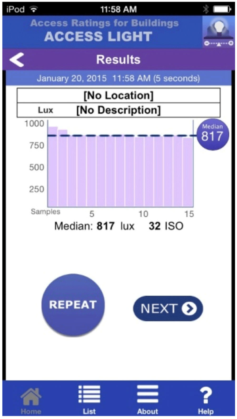Smartphone Based Light And Sound Intensity Calculation Application Audio How To Make Led Bar Graphs Measure Electrical The Results Screen Shows Median Lux Values Repeat Next Button Are Below