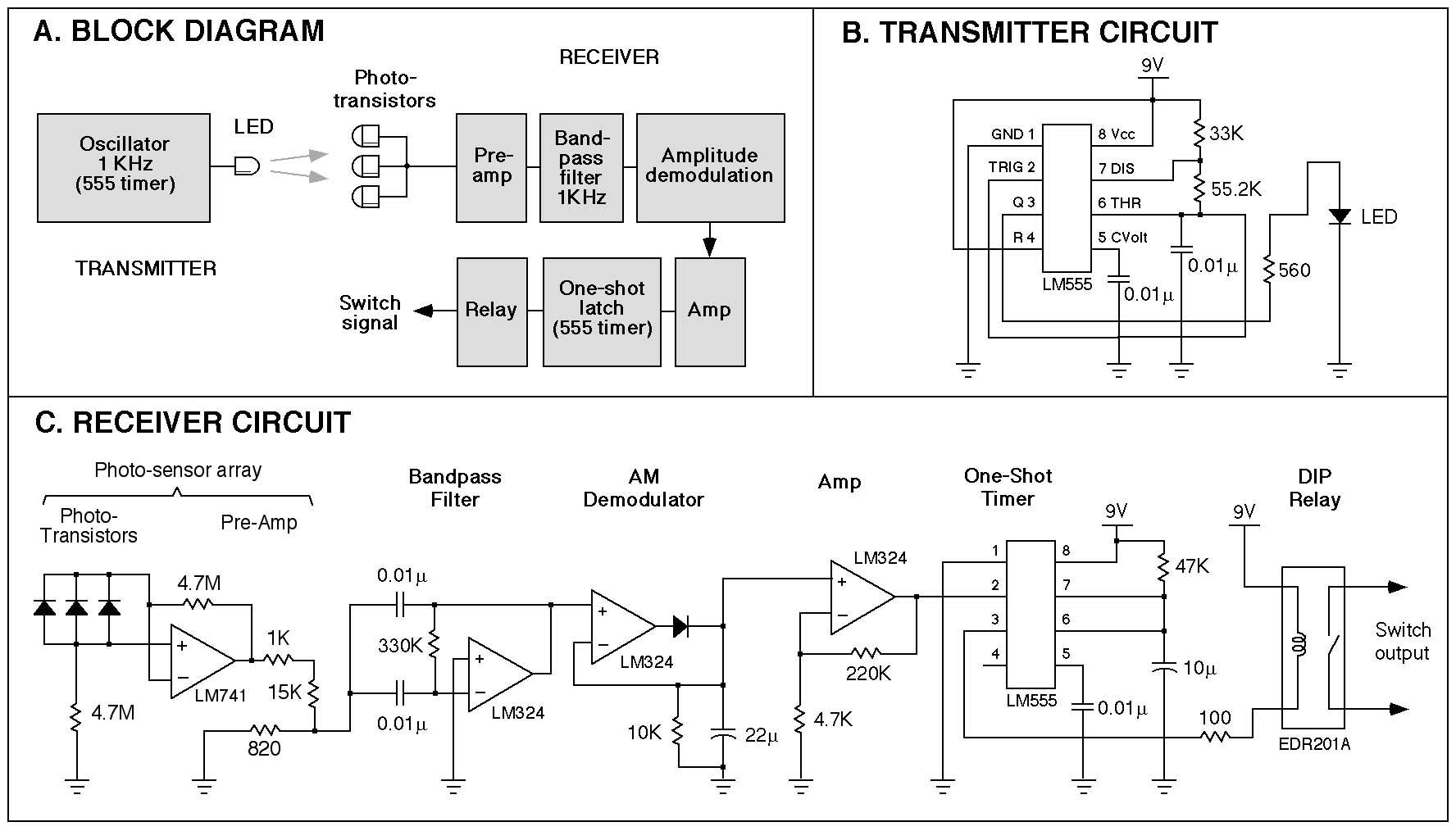 Design Of A Light Activated Switch With Improved Specificity For Laser Communication Receiver Circuit Schematic This Figure Shows Block Diagram The